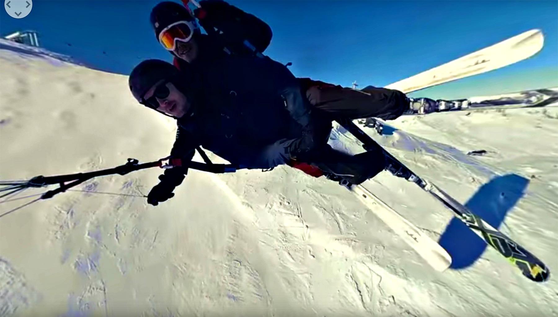 Ed Miller goes speed flying on the slopes of Val Thorens, France
